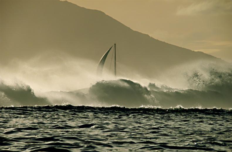 CC16 by Whitt Birnie. High surf with sail