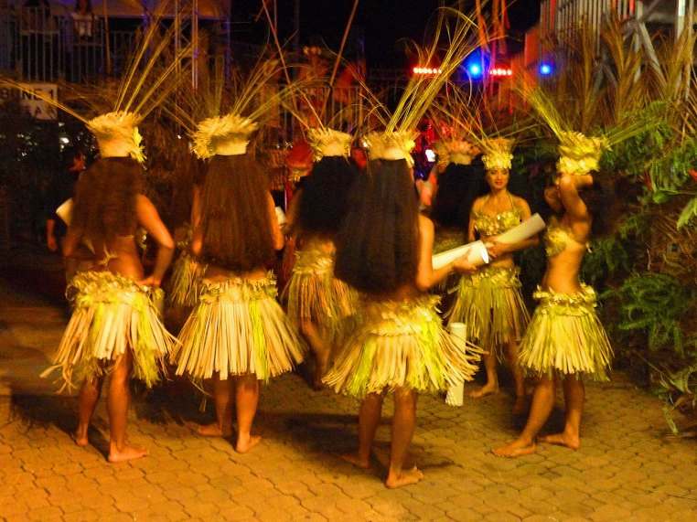 At To'ata in Papeete, Tahitian dancers await entry to the stage.